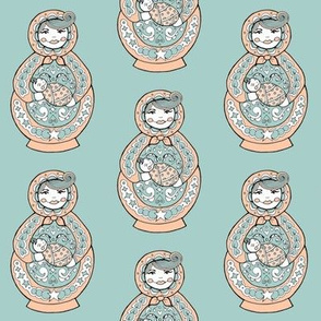 Russian Doll And Baby - Peach & Green-Blue