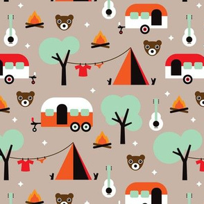 Retro Camping kids adventure pattern