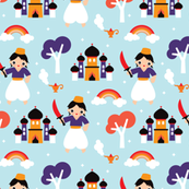 Cute arabic castle Aladdin prince pattern