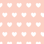 Hearts peach on white