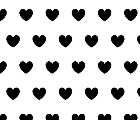 Hearts Black On White Fabric By Kleababy Spoonflower Custom