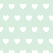 Hearts white on mint
