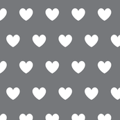 Hearts white on charcoal gray