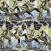 Art Deco gazelles galloping through, pale gold
