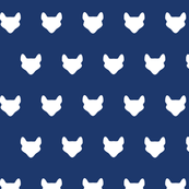 Foxes white on navy