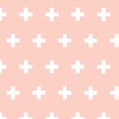 Crosses white on peach