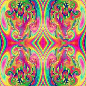 "Psychedelic Swirl Mirrored 9"" x 9"""