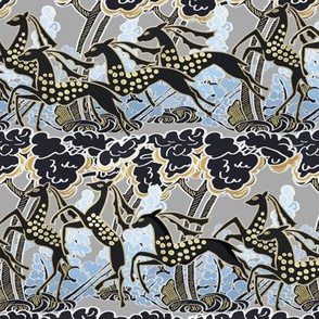 Art Deco gazelles galloping through, pewter by Su_G