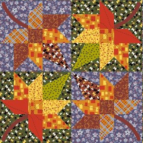 Maple Leaf Cheater quilt 2
