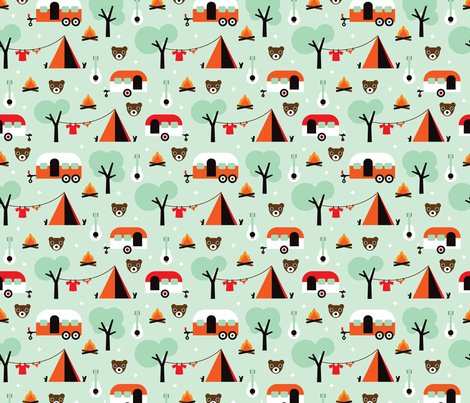 Retro camping kids adventure mint pattern fabric for Retro kids fabric
