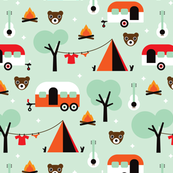 Retro Camping kids adventure mint pattern
