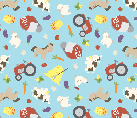 Farmyard Cuteness fabric by electrogiraffe on Spoonflower - custom fabric