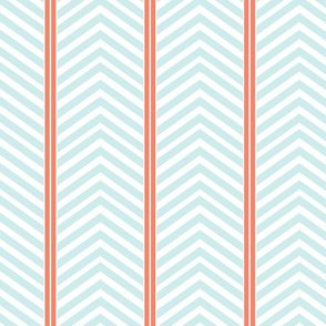 Modern Symmetry - Peachy Coral Minty Blue