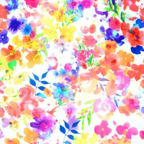 Floral Watercolour Kaleidescope - Small Flower Print in Rainbow