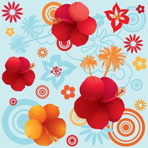Hibiscus tropical pattern 01