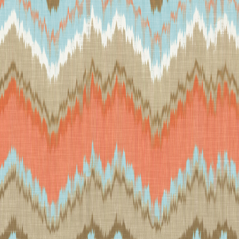 Ikat Chevron in Blue and Coral fabric by willowlanetextiles on Spoonflower - custom fabric