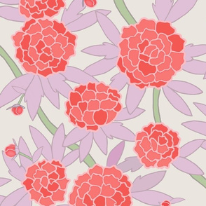Paeonia in Coral and Lavender