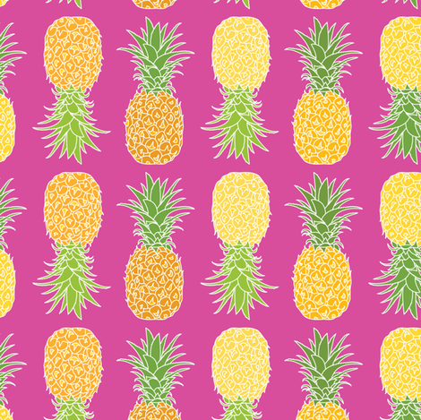 Pineapples On Pink fabric by ornaart on Spoonflower - custom fabric