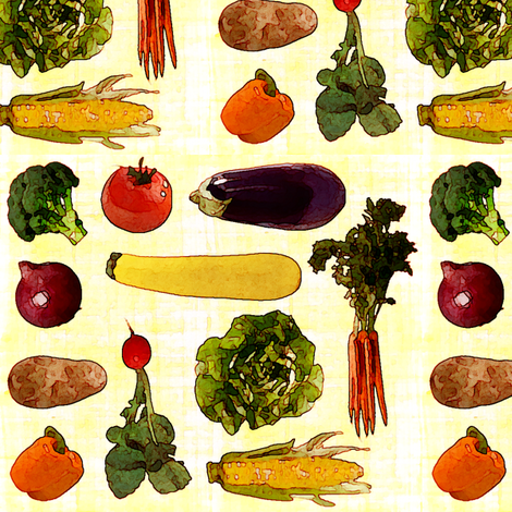 Large Produce Print fabric by jenfur on Spoonflower - custom fabric