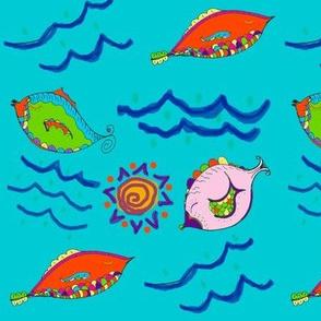 Zany Fish on Blue