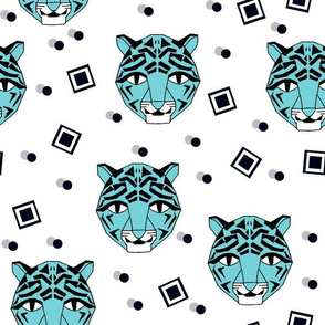 Rad Tiger Face - Aqua Blue by Andrea Lauren