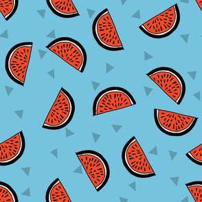 Watermelons - Soft Blue/Cardinal Red by Andrea Lauren