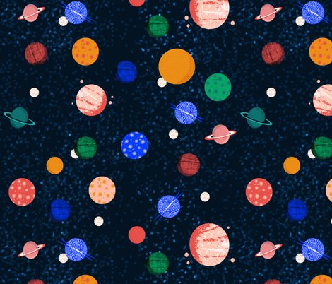 Planets solar system planets fabric wallpaper andrea for Planet print fabric