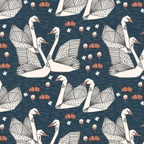 Swans in the Lily Pond (Smaller Version) by Andrea Lauren