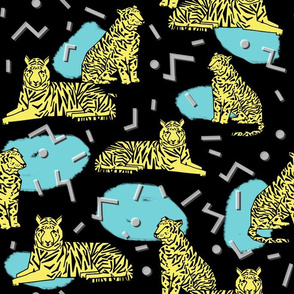 Rad Tiger Party - Canary Yellow/Black/Aqua by Andrea Lauren