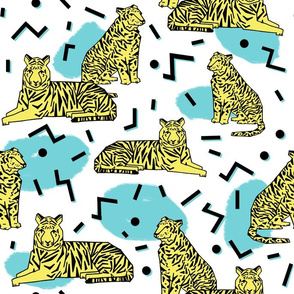 Rad Tiger Party - Canary Yellow/Aqua/Black by Andrea Lauren