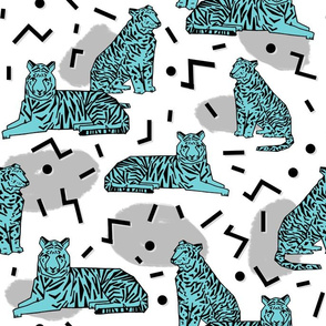 Rad Party Tiger - Slate Grey/Aqua by Andrea Lauren