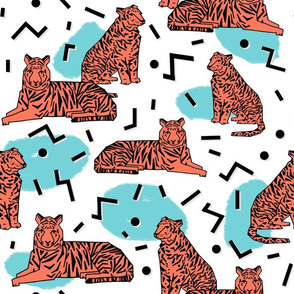 Rad Tiger Party - Carrot/Aqua/Black by Andrea Lauren
