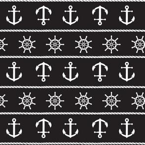 Nautical Anchor On Black