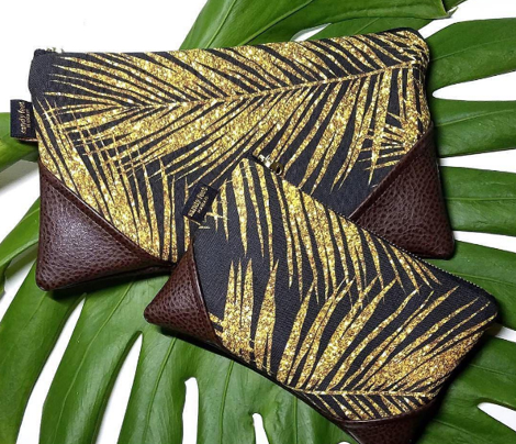 gold glitter palm leaves - black, large