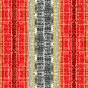 Scandi stripe in faux linen Pepper Red