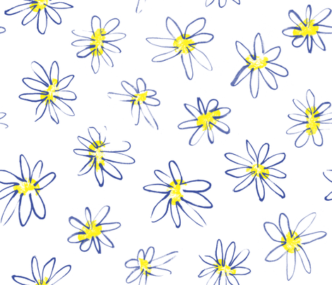 Daisies_WHITE fabric by elizabethdoyle on Spoonflower - custom fabric