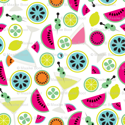 Cocktail summer fruit colorful illustration pattern