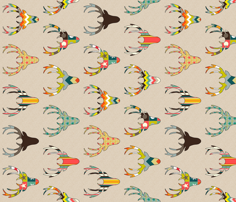 90° RETRO DEER HEAD ON LINEN fabric by scrummy on Spoonflower - custom fabric