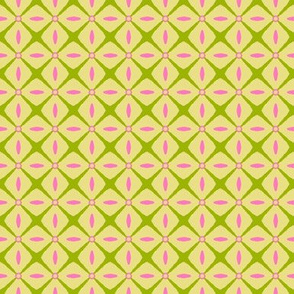 Interspersed   -azalea pink & spring green on butter