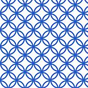 Chinese fretwork, circles, blue