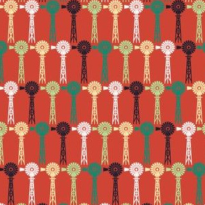 Windmills - Summer Farm (Red)
