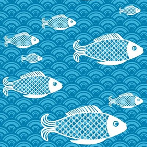 Fish pattern on sea blue