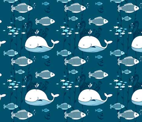 Fish and whale pattern  fabric by smileysunday on Spoonflower - custom fabric