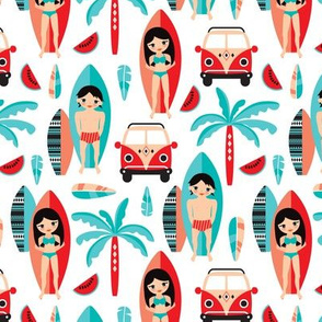 Summer tiki surf illustration aztec details pattern