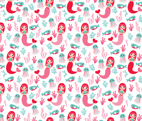 Little Mermaid jelly fish and under water world LARGE fabric by littlesmilemakers on Spoonflower - custom fabric