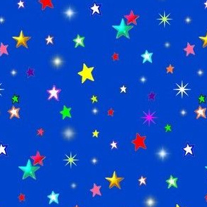 Rainbow Stars on Blue