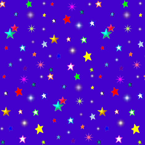 Colorful Rainbow Stars on Royal Blue/ Purple