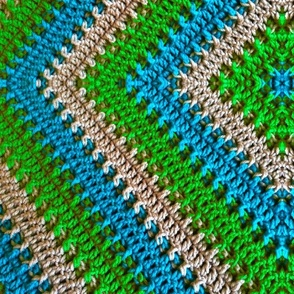 Cozy Crochet - green/blue/grey