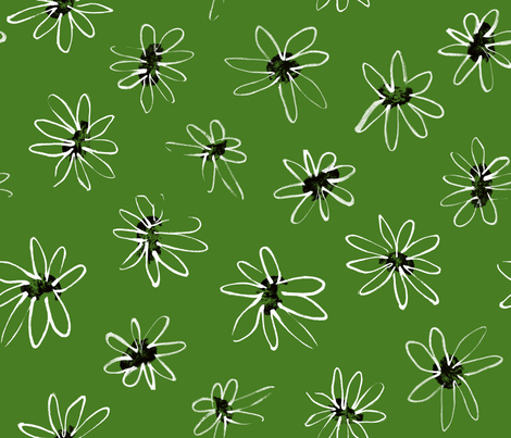Green Daisy Pattern fabric by elizabethdoyle on Spoonflower - custom fabric