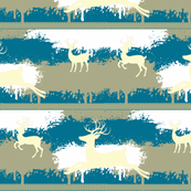 Cream Deer-stripes-aqua